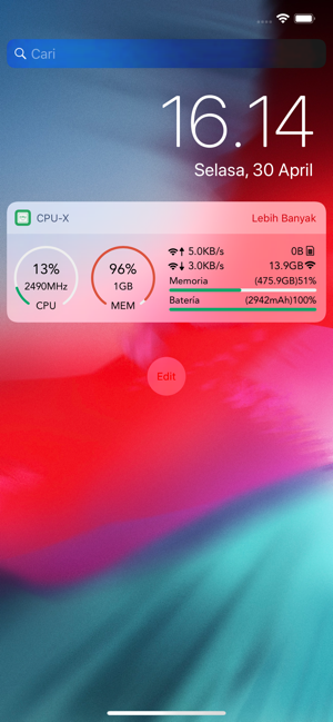 ‎CPU-x Dasher z Battery life 跑分 Screenshot