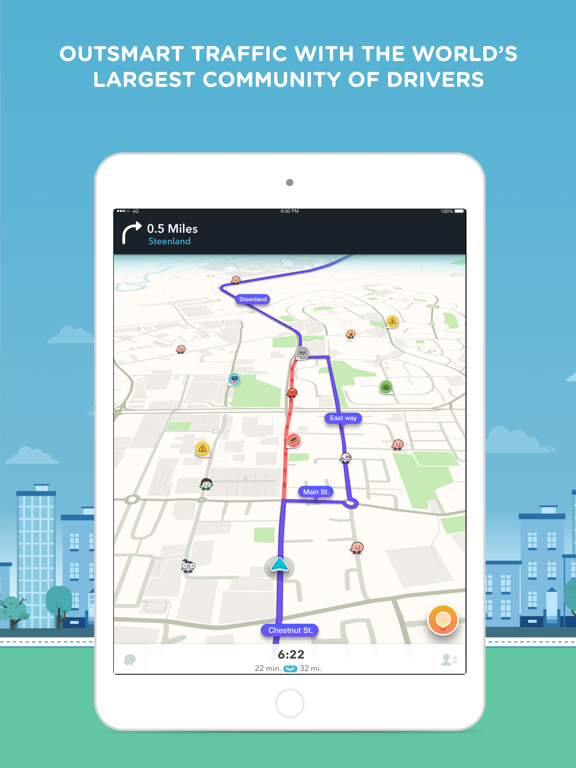 iPad Image of Waze Navigation & Live Traffic