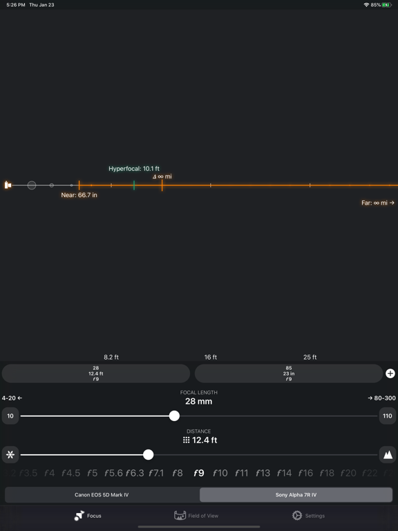 FocusFinder DoF Calculator Screenshots