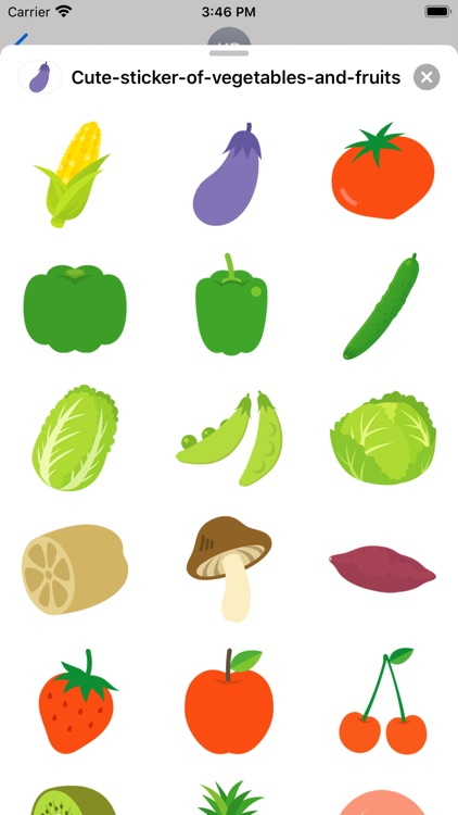 Cute vegetables and fruits