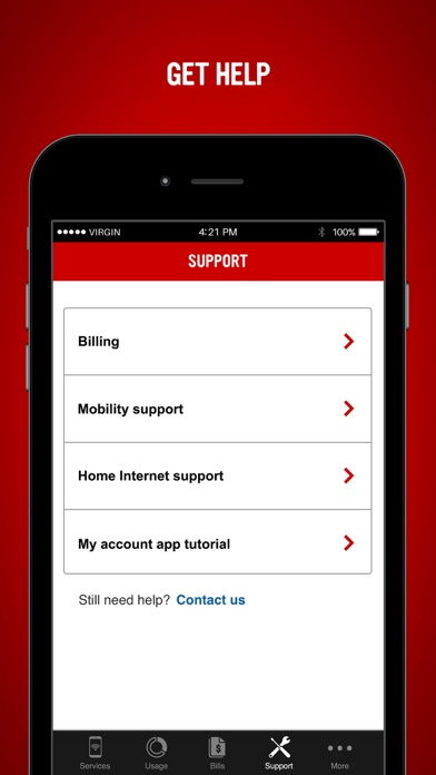 Virgin Mobile My Account App Report on Mobile Action - App