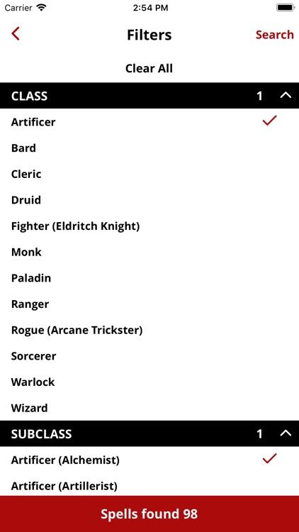 Spell List D&D 5e screenshot-4