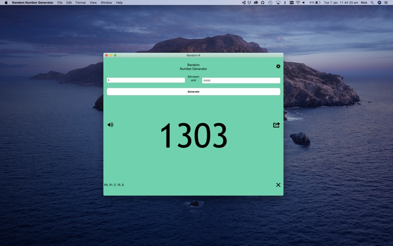Random Number Generator for Mac