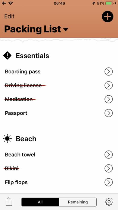 Travel Packing List Screenshot