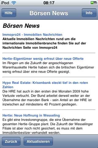 Screenshot of Börsen News