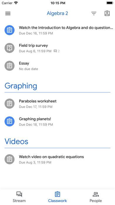 Screenshot of Google Classroom App