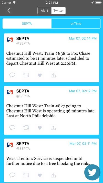 onTime : SEPTA Rail, Bus screenshot-5