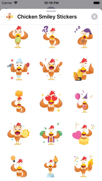 Chicken Smiley Stickers