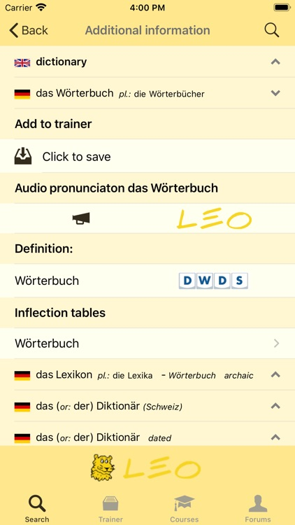 LEO dictionary screenshot-2