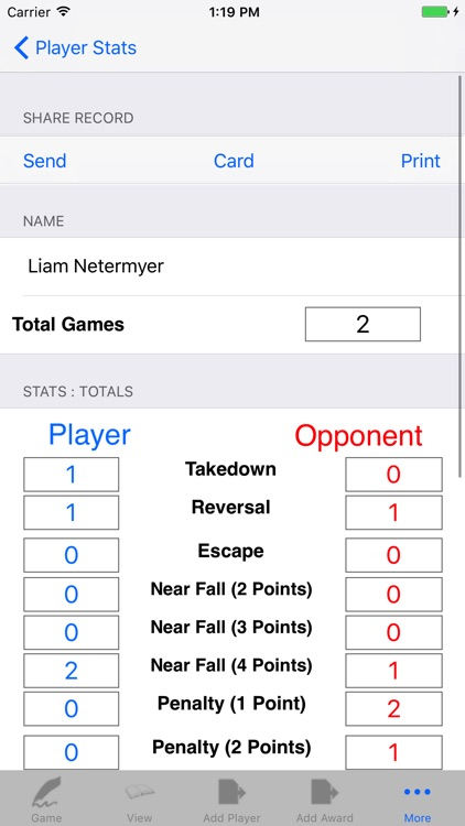 Wrestling Game & Player Stats