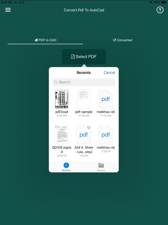 Convert PDF to AutoCad Screenshots