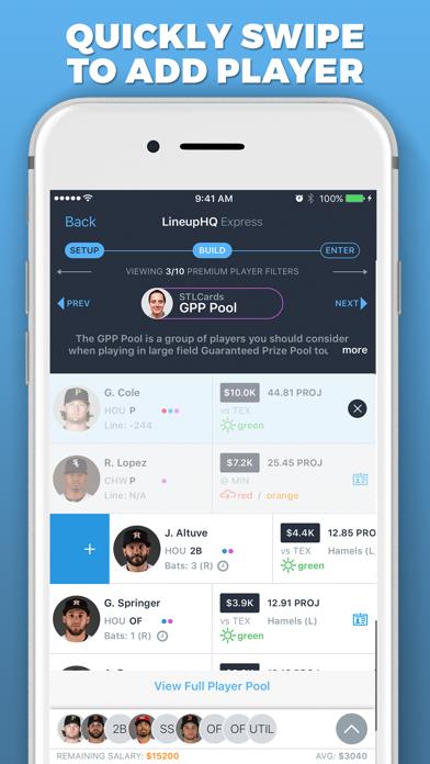 LineupHQ Express for FanDuel Screenshot
