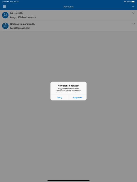 iPad Image of Microsoft Authenticator