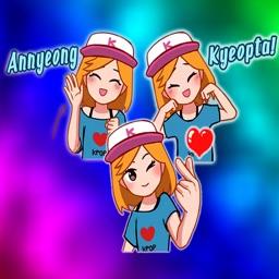 Pop Style Cute Girl Stickers
