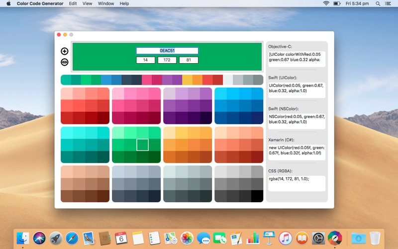Color Code Generator for Mac