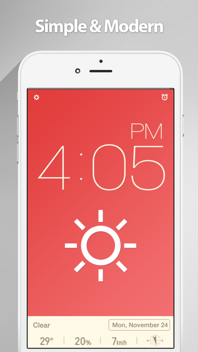 Screenshot #1 pour Red Clock - Weather & Alarm