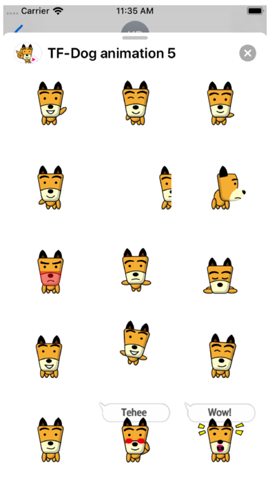 TF-Dog Animation 5 Stickers Screenshot
