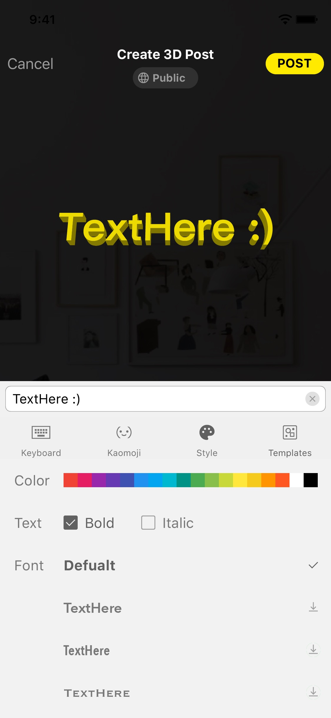 Screenshot do app TextHere – AR posts everywhere