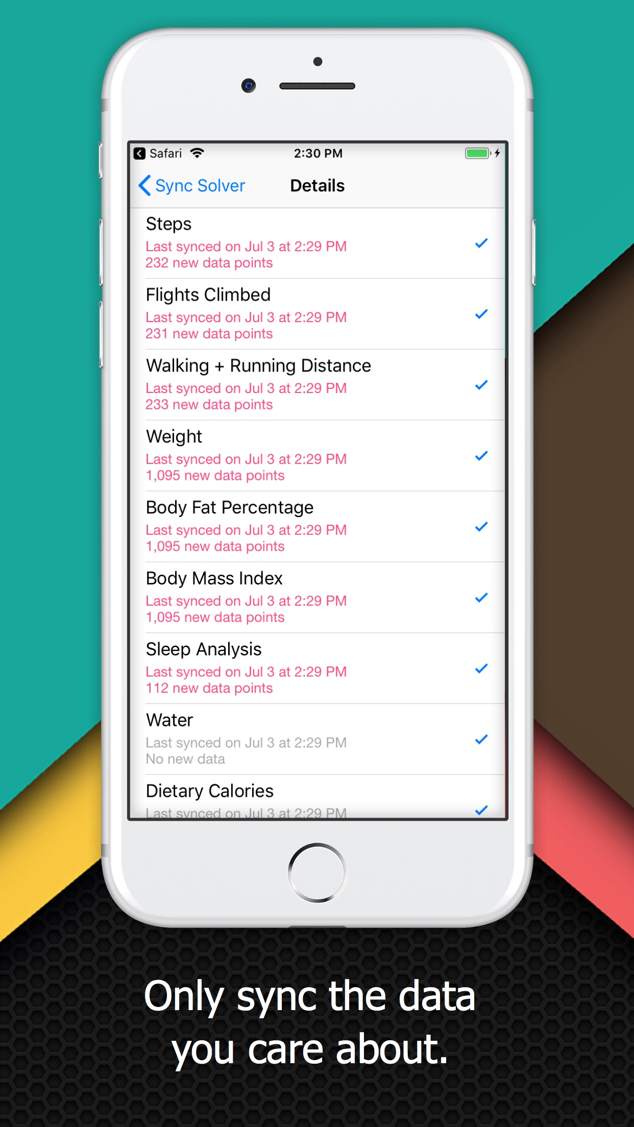 Screenshot do app Sync Solver - Fitbit to Health