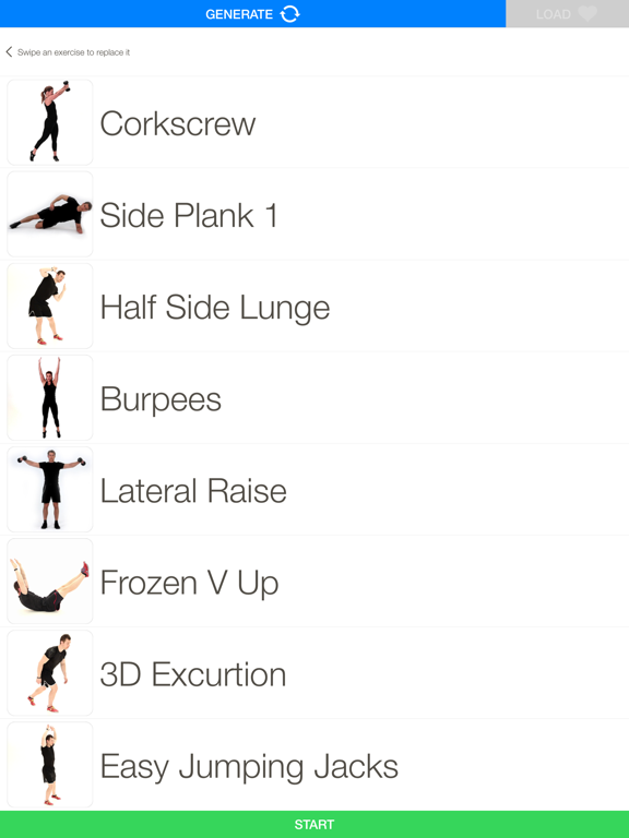 Quickstart workout generator Screenshots