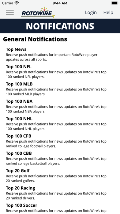 RotoWire Fantasy News Center Screenshot