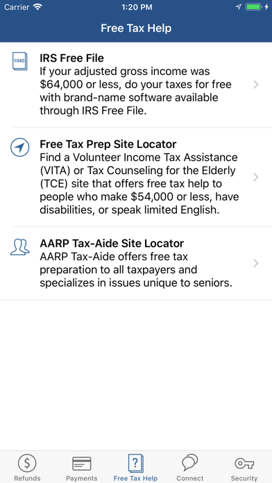 Screenshot for IRS2Go in United States App Store