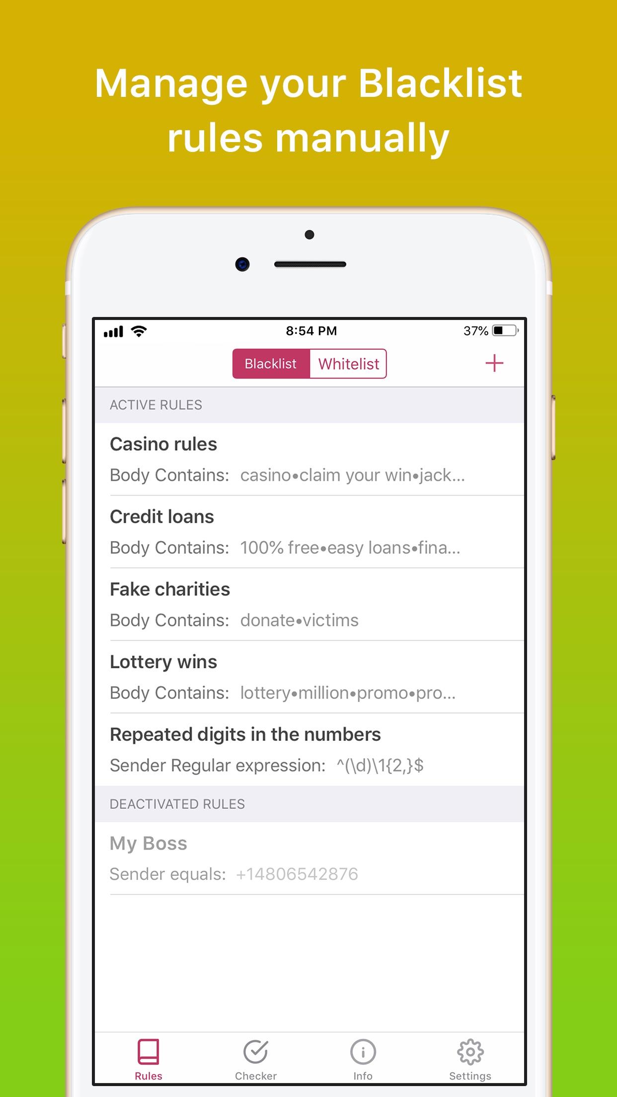 Screenshot do app SpamHound SMS Spam Filter