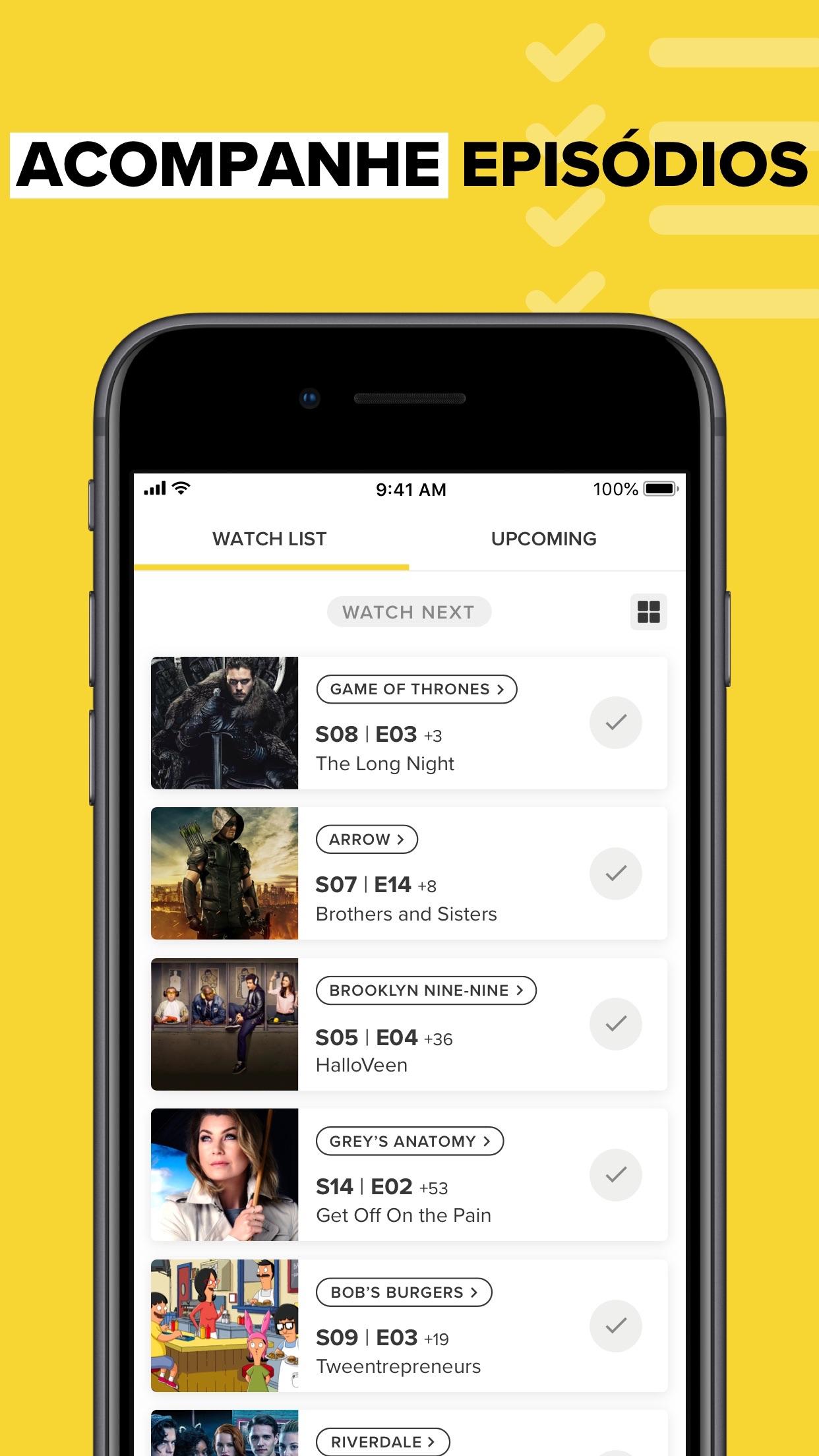 Screenshot do app TV Time: Seguir Séries e filme