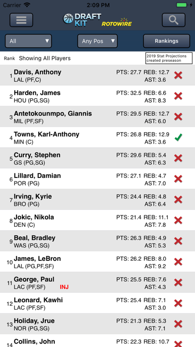 Fantasy Basketball Draft '19 screenshot 1