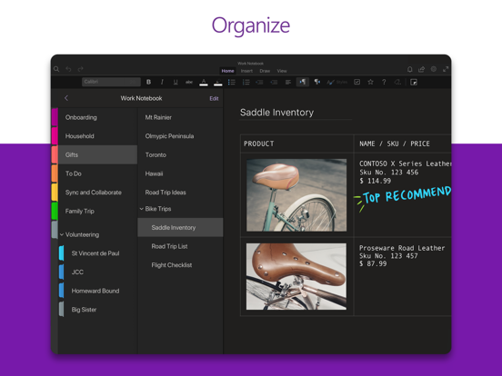 Microsoft OneNote – lists, photos, and notes, organized in a notebook screenshot