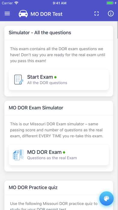 Screenshot of Missouri DOR Practice Exam App