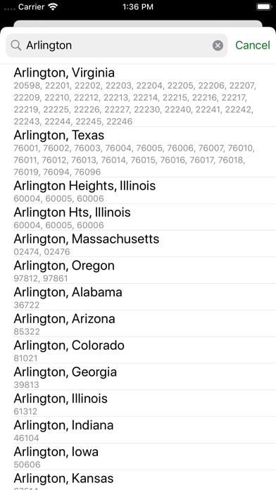 Zip Codes - Moved Screenshot