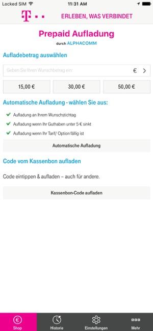 D1 Karte Aufladen.Prepaid Aufladung Im App Store
