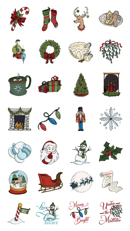Woodcut Christmas Stickers