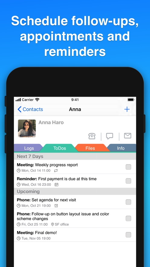 Contacts Journal CRM App 截图
