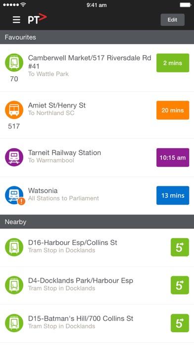 Public Transport Victoria iPhone app screenshot