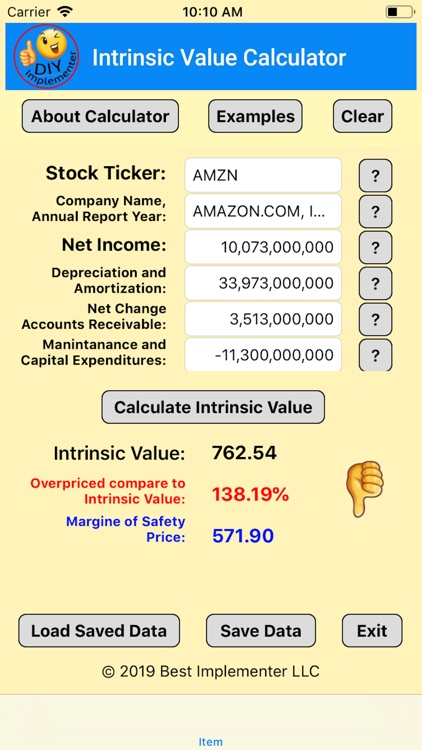 Intrinsic Value Calculator DIY screenshot-4