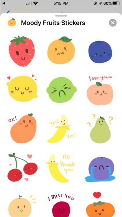 Moody Fruits Stickers