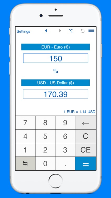 USD and EUR converter screenshot-2