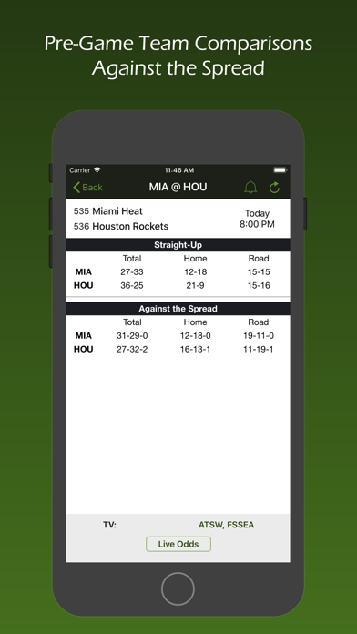 Live Scores and Odds Screenshot
