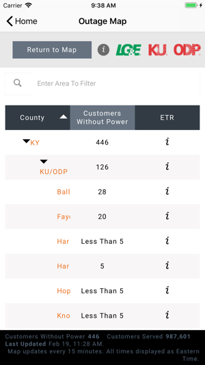 Lg E Ku Odp Outage Maps On The App Store