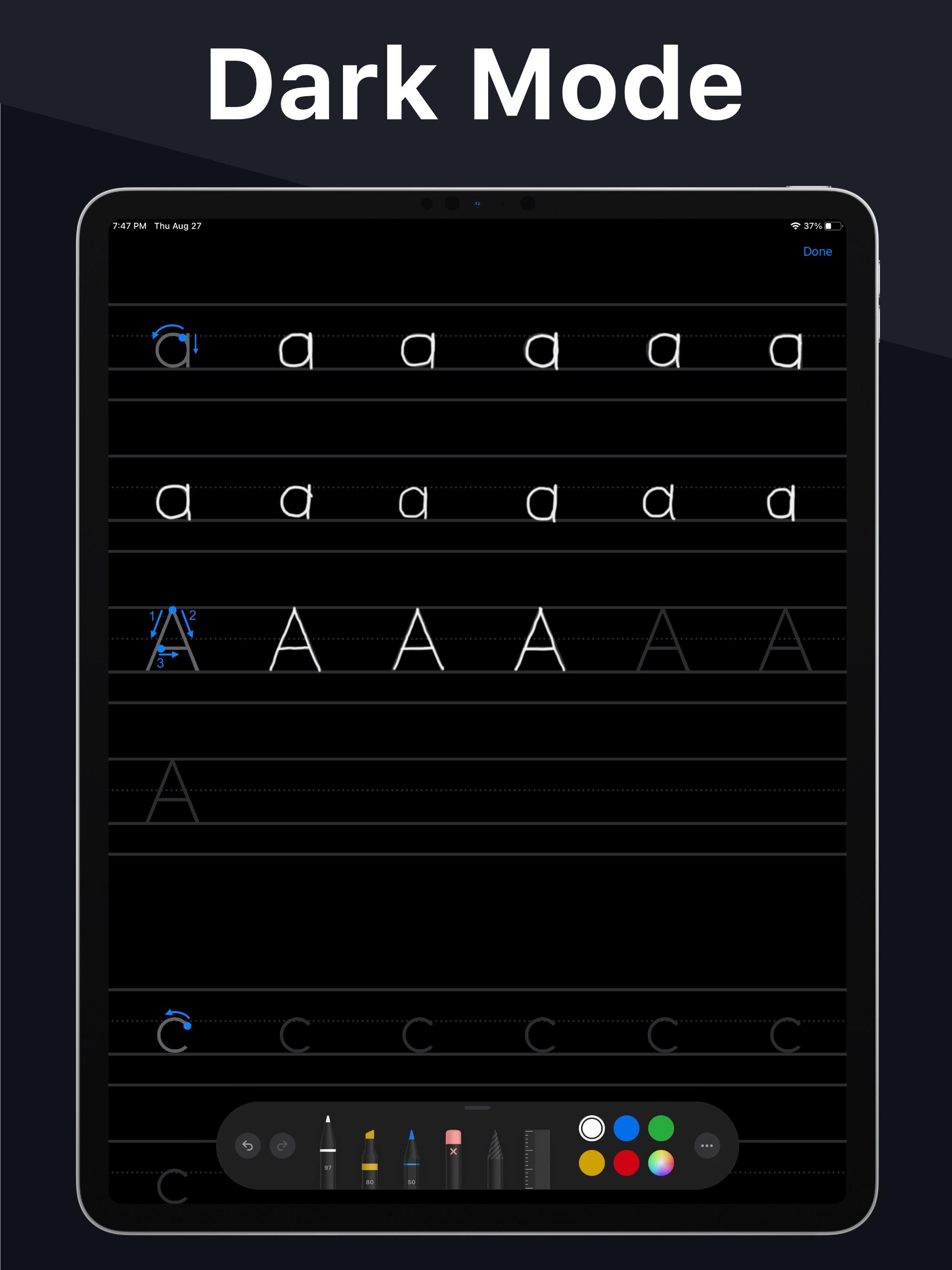 Screenshot do app Writey - Practice Handwriting