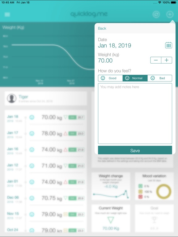 Weight Tracker QuickLog.me Screenshots