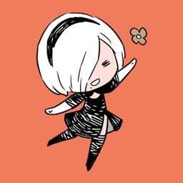 黑裙少女贴纸