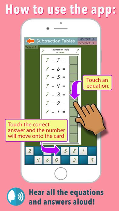 Montessori Subtraction Tables screenshot 2