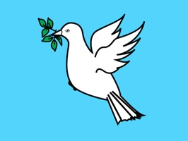 A dove holding an olive branch is used to symbolize peace