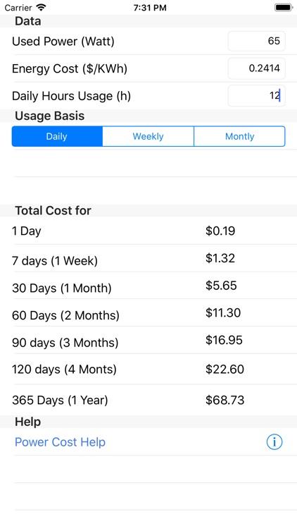 Power Cost screenshot-3