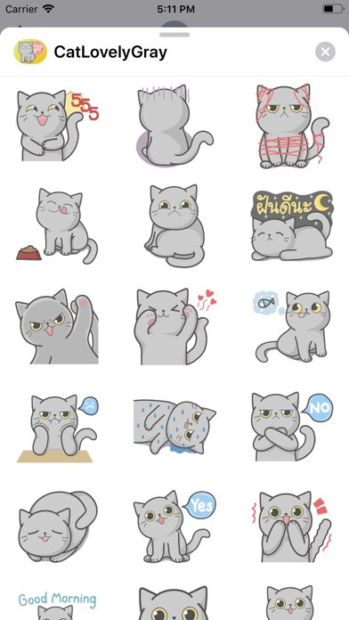 Screenshot for Cat Lovely Gray Sticker in Hong Kong App Store