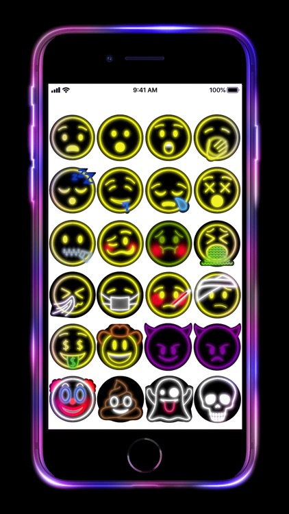 Neon Emoji iStickers Animated screenshot-4