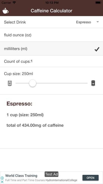 Simple Caffeine Calculator
